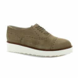 Pao Derby cuir velours taupe