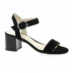 Pao Nu pieds cuir velours noir