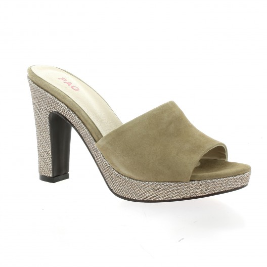 Pao Nu pieds cuir velours taupe