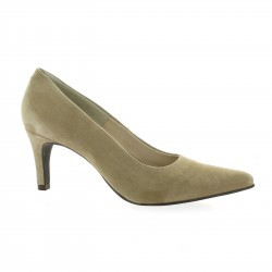 Pao Escarpins cuir velours taupe