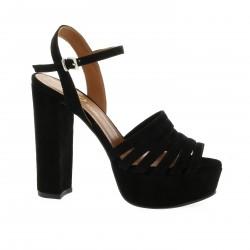 Essedonna Nu pieds cuir velours noir
