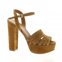 Essedonna Nu pieds cuir velours cognac