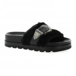 Essedonna Nu pieds cuir noir