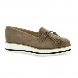 Exit Mocassins cuir velours taupe