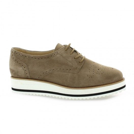 Exit Derby cuir velours taupe