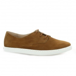 Exit Baskets cuir velours cognac