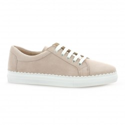 Exit Baskets cuir velours rose