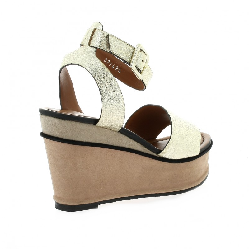 Elvio Zano Chaussures Nu Pieds Compens 233 S H3303x Cuir Lamin 233 Or