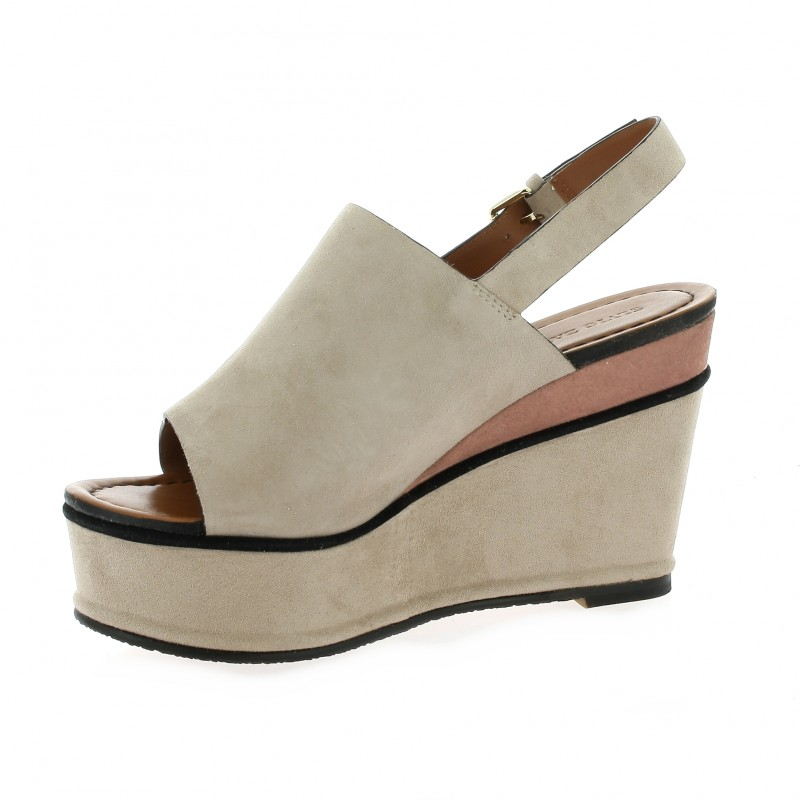 Chaussures Elvio Zanon Cuir Velours Rose Poudr 233 Compens 233 S