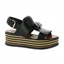 Elvio zanon Nu pieds cuir noir