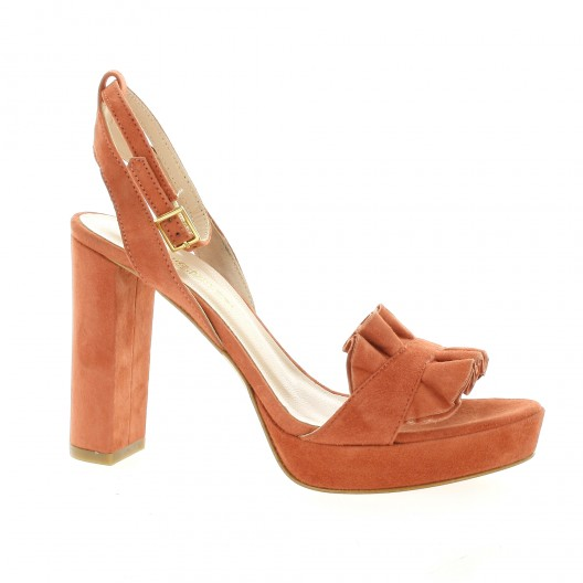 Fremilu Nu pieds cuir velours orange