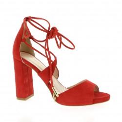 Fremilu Nu pieds cuir velours rouge