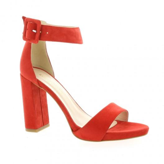 Fremilu Escarpins cuir velours rouge - Chaussures Escarpins Femme