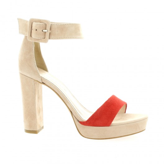 Fremilu Nu pieds cuir velours rose