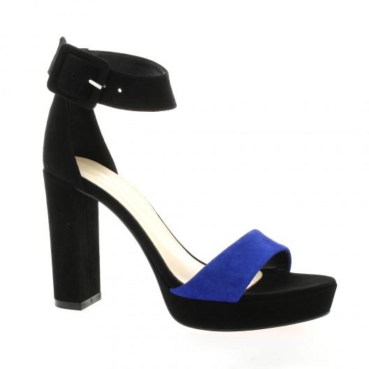 Fremilu Nu pieds cuir velours bleu