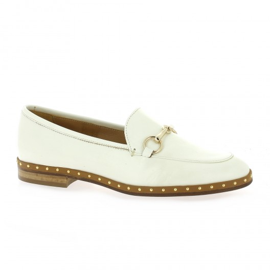 Mitica Mocassins cuir Blanc - Chaussures Mocassins Femme