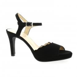 Brenda zaro Nu pieds cuir velours noir