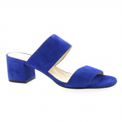 Pao Mules cuir velours bleu