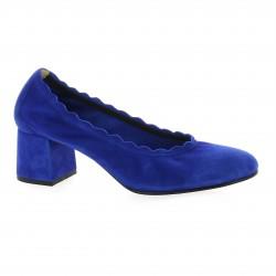 Pao Escarpins cuir velours bleu
