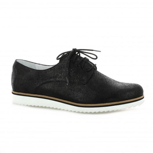 Elizabeth Stuart Derby cuir laminé Noir - Chaussures Derbies Femme