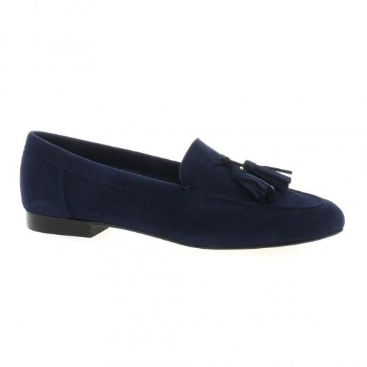 59052228d905b Exit chaussures cuir velours bleu marine mocassins Cofasia