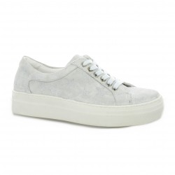 Exit Baskets cuir velours blanc