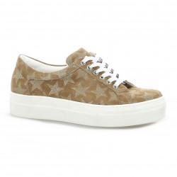 Exit Baskets cuir velours taupe