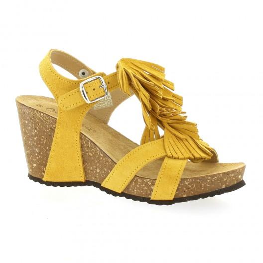 Coco abricot Nu pieds cuir velours jaune