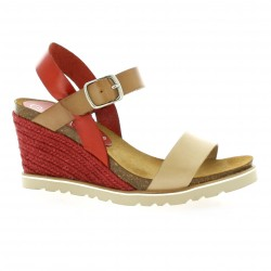 Coco abricot Nu pieds cuir rouge