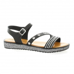 Coco abricot Nu pieds cuir noir