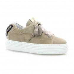Alpe Baskets cuir velours taupe