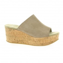 Exit Mules cuir velours taupe