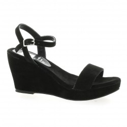 Nu pieds cuir velours noir Elizabeth stuart