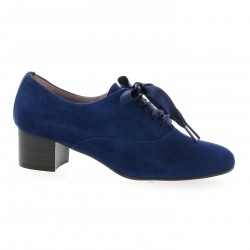 Pao Derby cuir velours bleu