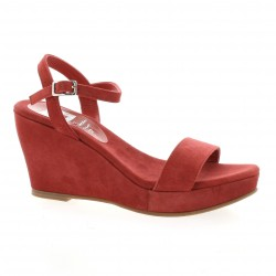 Nu pieds cuir velours rouge Elizabeth stuart