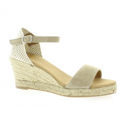 Pao Espadrille cuir velours taupe