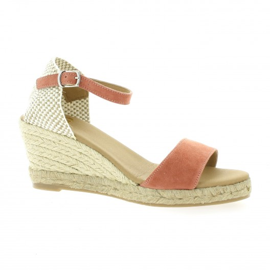Pao Espadrille cuir velours rouge