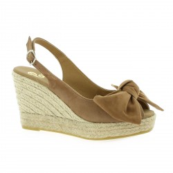 Pao Espadrille cuir velours camel
