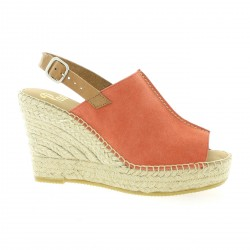 Pao Espadrille cuir velours corail