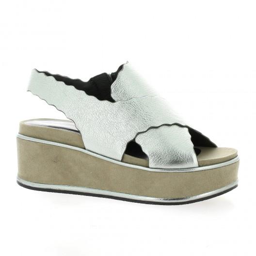 Adele Dezotti Nu pieds cuir laminé Argent - Chaussures Sandale Femme