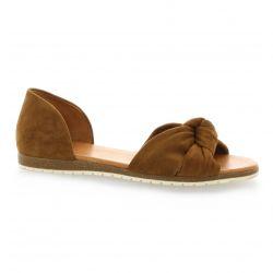 Apple Nu pieds cuir velours cognac