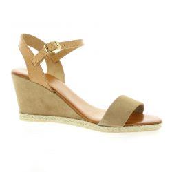 Pao Nu pieds cuir velours camel