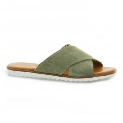 Pao Nu pieds cuir velours kaki