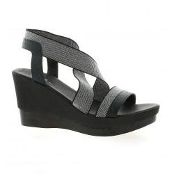 Reqins Nu pieds cuir laminé noir