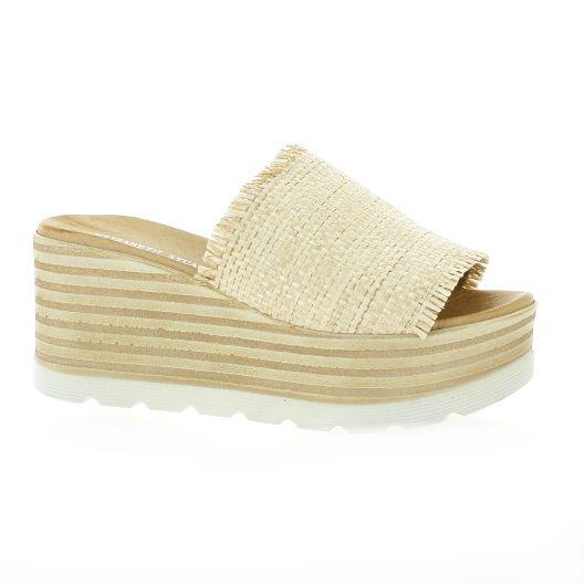 Mules chaussures Denver compensées Elizabeth Stuart beige 805 toile TXH7xXr