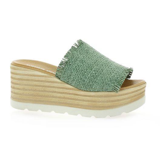 Elizabeth Stuart Mules toile Kaki - Chaussures Mules Femme