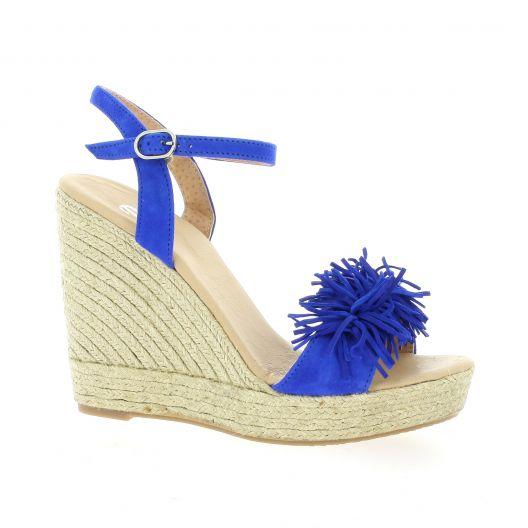 ce0c242860a926 Espadrilles compensées Pao chaussures cuir velours bleu 14934 1