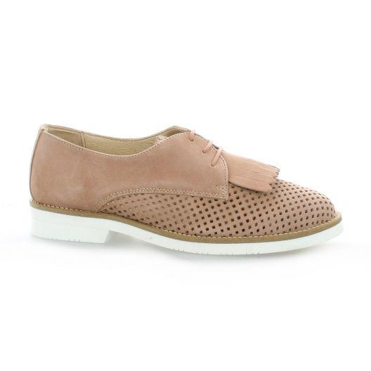 So Send Derby cuir velours Naturel - Chaussures Derbies Femme
