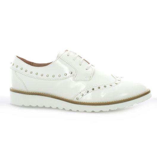 So Send Derby cuir vernis Blanc - Chaussures Derbies Femme