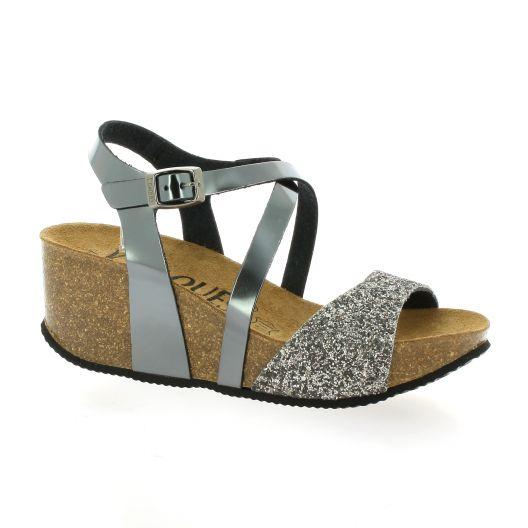 K. Daques Sandales compensées Femme  - CASAS Acier - Livraison Gratuite avec  - Chaussures Sandale Femme